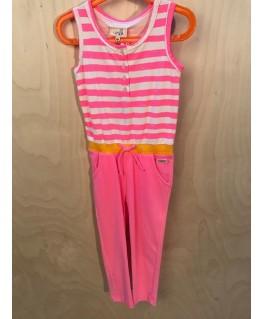 Fluo Pink gestreept jumpsuit Hidde - Unkk