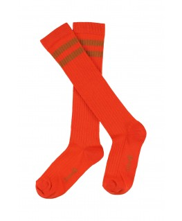 JORDAN STRIPE striped knee socks mandarin red - Lily Balou
