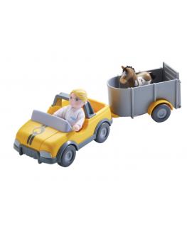 Little Friends - Dierenartsauto met aanhangwagen - Haba
