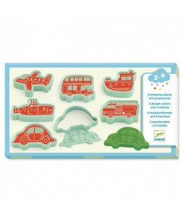 6 cookie cutters and 6 stamps vehicles - Djeco