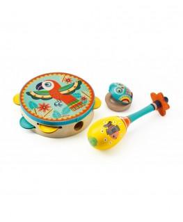 Set of 3 instruments: Tambourine, maracas, castanet +3j Animambo - Djeco