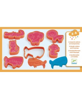 6 cookie cutters and 6 stamps wild animals 3-6j - Djeco