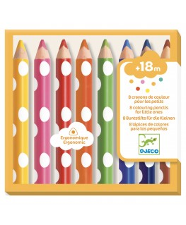 8 colouring pencils for little ones +18m - Djeco