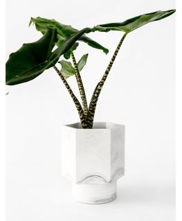 Hapi Zelfwatergevende white marble Pot  12 cm - House Raccoon