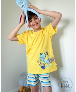 Jongens pyjama geel octaaf octopus - Woody