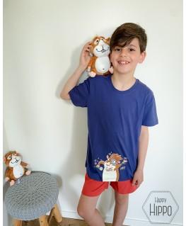 Jongens donkerblauw Ringo de cavia pyjama - Woody