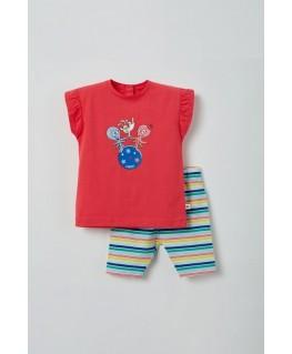 Meisjes pyjama fuchsia octopus - Woody