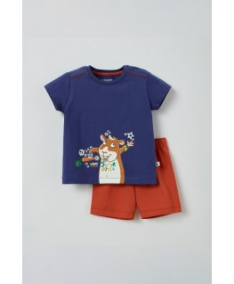 Unisex pyjama cavia donkerblauw - Woody