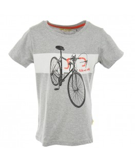 T-shirt Russell Ride and Smile Grijs - Stones And Bones