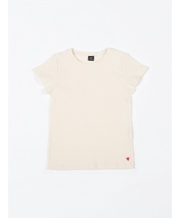 T-shirt rib creme - Mundo Melocotón