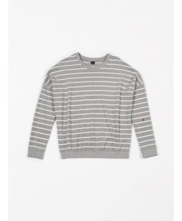 Oversized sweater Terry stripes grey - Mundo Melocotón