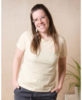 T-shirt jersey yellow stripes dames - Mundo Melocotón