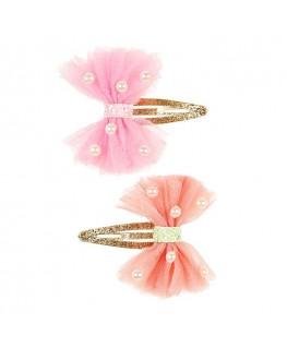 Haarclips Karine, roze-koraal (2 stuks/ kaartje) - Souza!