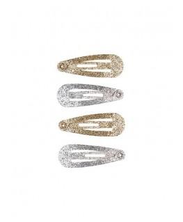 Haarclips Irene, glitter goud/zilver (4 stuks/kaartje) - Souza!