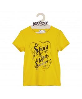 T-SHIRT  school is out / yellow - Six hugs & Rock'n Roll