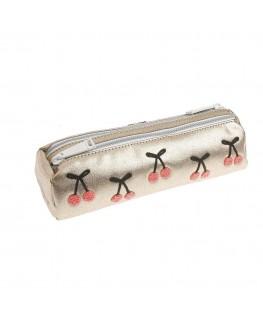 Pencil Case Double Cherry Pompon - Jeune Premier
