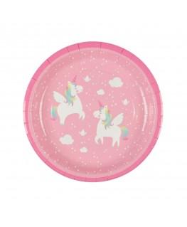 Set of 8 Rainbow Unicorn Paper Plates - sas&belle