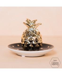 Black & Gold polka dot pineapple trinket dish - Sas & Belle