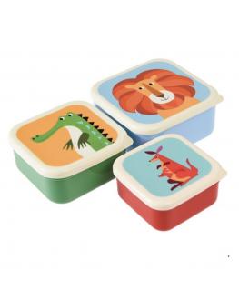 Set of 3 Snack Boxes Kleurrijke Dieren - Rex