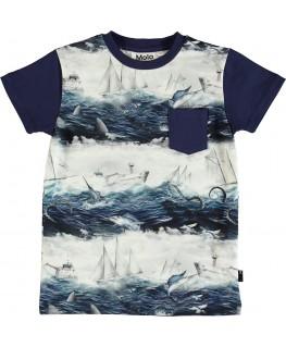T-shirt Roman Sailor stripe front - Molo - Happy Hippo