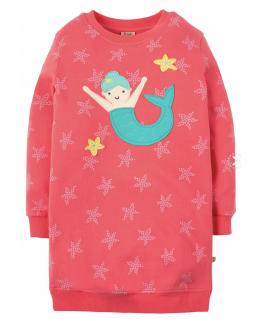 Eloise Jumper Dress, Coral Starfish Spot/Mermaid - Frugi