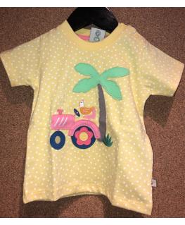 Little Polkerris Applique T-shirt, Sunshine Spot/Tractor - Frugi