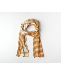 Rechte sjaal knitwear La Linea Cinnamon + Offwhite - Mundo Melocoton
