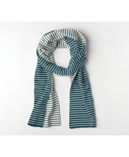 Rechte sjaal knitwear La Linea Teal + Offwhite - Mundo Melocoton