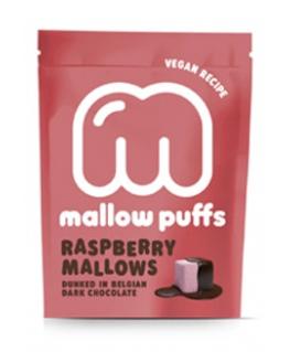 Raspberry Mallows dunked in Belgian dark chocolate - Baru