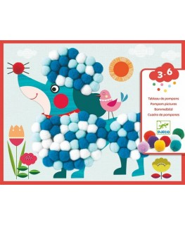 Kunstwerk van pompons - aaibare hondjes 3-6j - Djeco