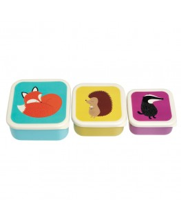 Set of 3 rusty fox and friends snack boxes - Rex