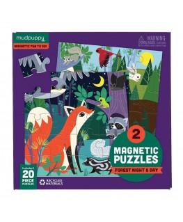 Set van 2 Magnetische Puzzels Het Bos 20 stukken +4y - Mudpuppy