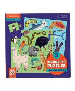 Set van 2 Magnetische Puzzels Land & Zee dieren 20 stukken +4y - Mudpuppy
