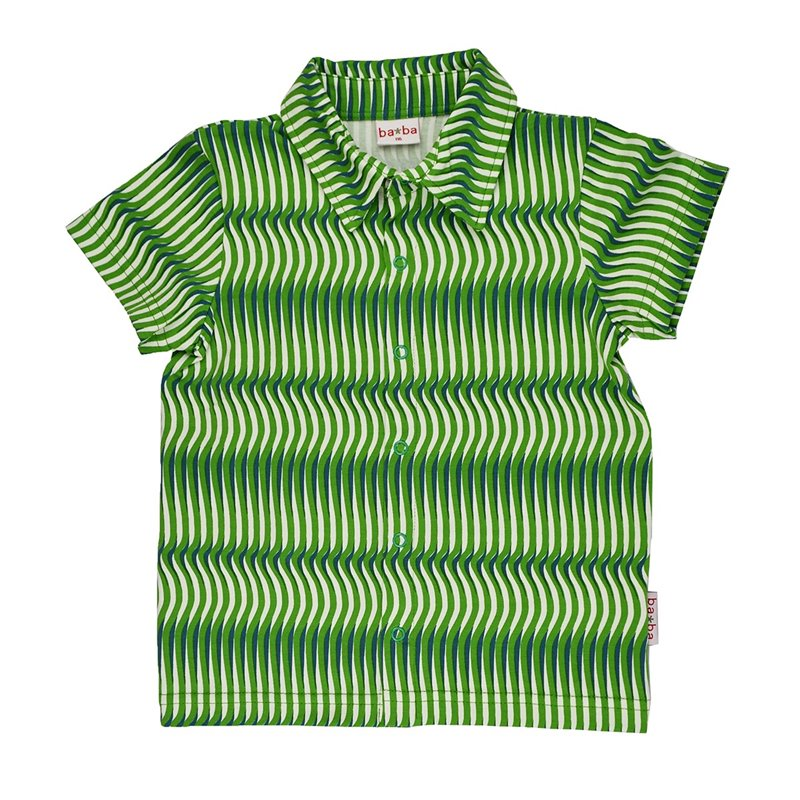 Polo shirt Jacquard green stripes front - Ba*Ba babywear - Happy Hippo