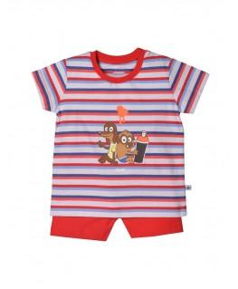 Baby pyjama hond rood wit gestreept - Woody